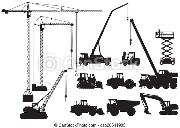 Earth-moving machinery and crane - csp20541905