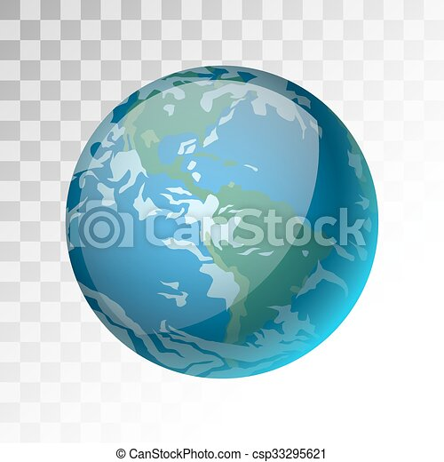 World Map 3d View.Earth Planet 3d Vector Illustration Globe Earth Texture Map Globe