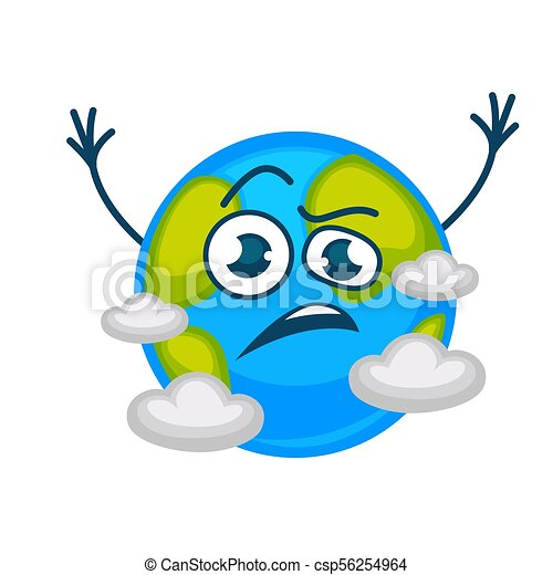 earth planet cartoon vector character sad or angry in clouds clip rh canstockphoto com clip art sadness clip art sad face with tears