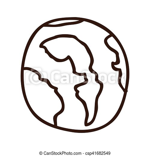 Earth Planet Icon Over White Background Draw Design Vector