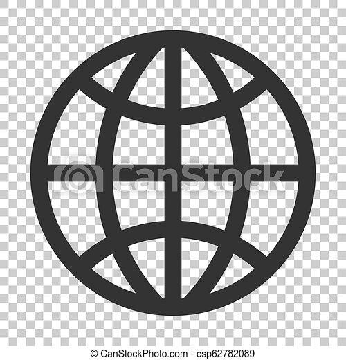Earth planet icon in flat style. Globe geographic vector illustration on isolated background. Global communication business concept. - csp62782089