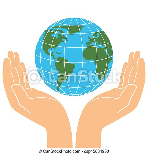 Earth planet in human hands - csp45884950