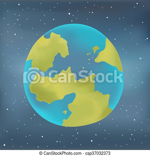 Earth planet on a starry sky background. - csp37032373