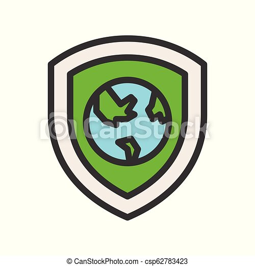 earth planet on shield icon, filled outline flat design - csp62783423