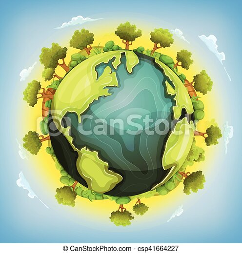 Earth Planet With Forest And Agriculture Elements Around - csp41664227