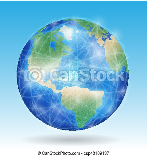 earth planet with line of network connect around the world - csp48109137