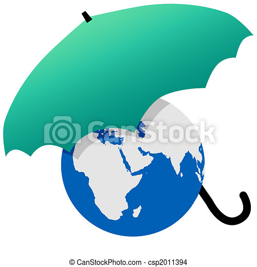 Earth protected by a green world umbrella - csp2011394