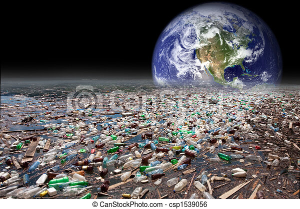 earth sinking in pollution - csp1539056