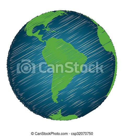 Earth Sketch Hand Draw Focus South America Continent Credit World