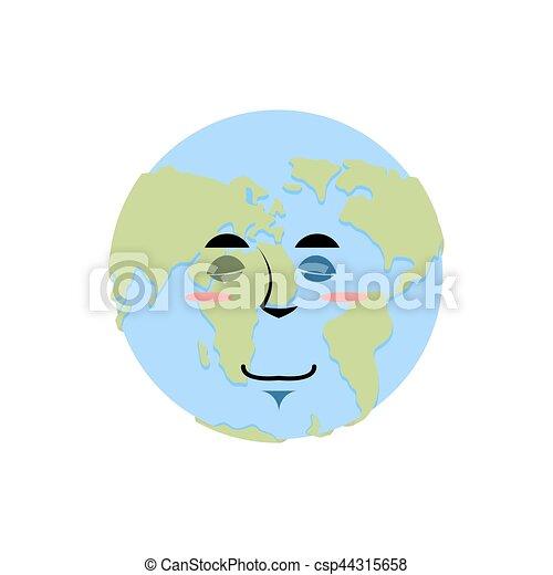Earth Sleeping Emoji Planet Asleep Emotion Isolated