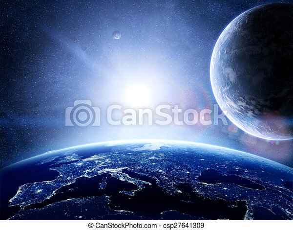 Earth surface with planets around - csp27641309