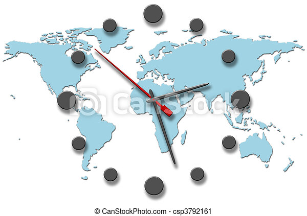 Earth time clock hands on world map a clock on the earth earth time clock hands on world map csp3792161 gumiabroncs Choice Image