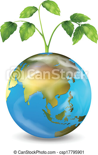 Earth with a growing plant - csp17795901