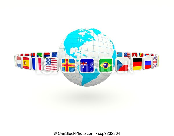 Earth with flags isolated on white - csp9232304