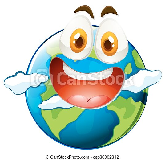 Earth with happy face - csp30002312