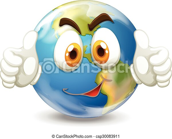 Earth with happy face - csp30083911