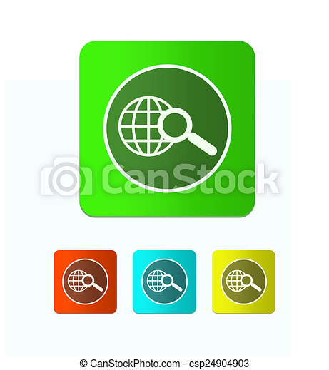 Earth with magnifying glass search icon - csp24904903