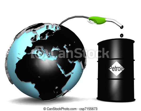 Earth with petroleum oil coming out into a barrel - csp7155673
