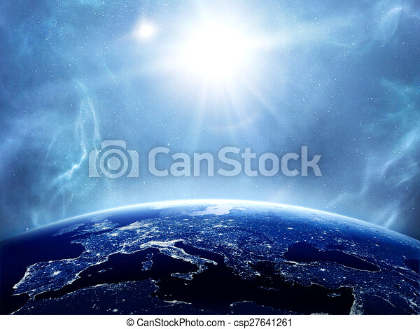 Earth with the Sun - csp27641261