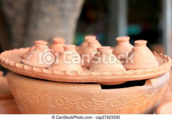 Earthenware brown - for dessert Thailand. - csp27423330