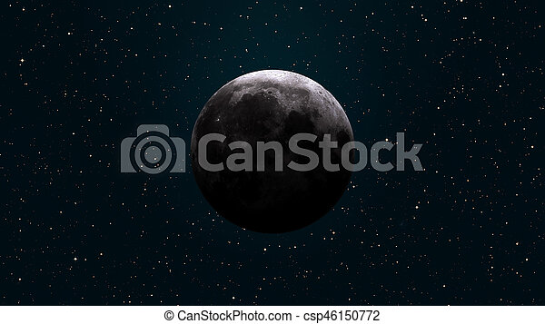 Earths Moon. Outer space background. - csp46150772