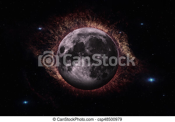 Earths Moon. Outer space background. - csp48500979