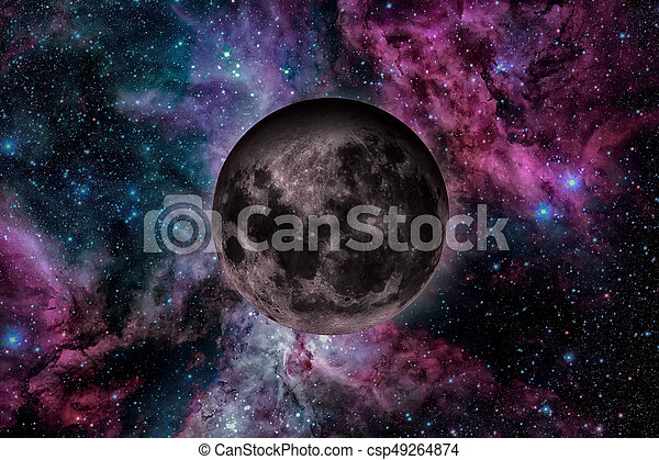 Earths Moon. Outer space background. - csp49264874
