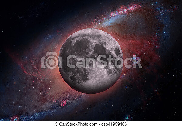 Earths Moon. Outer space background. - csp41959466