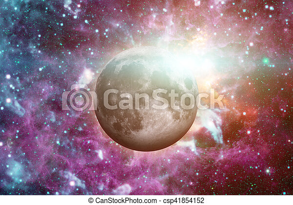 Earths Moon. Outer space background. - csp41854152