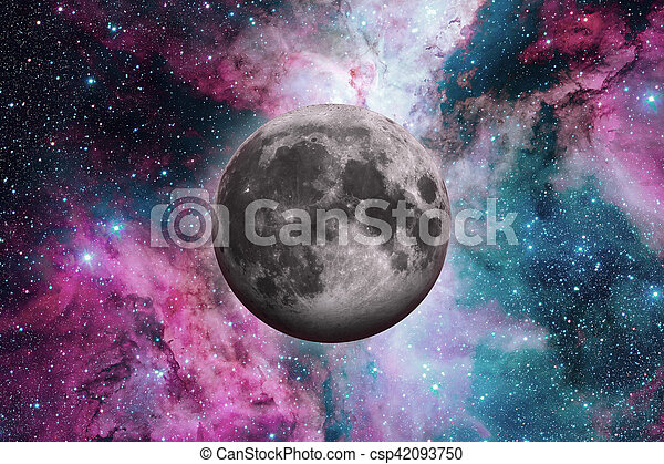 Earths Moon. Outer space background. - csp42093750
