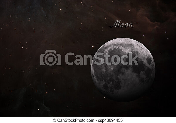 Earths Moon. Outer space background. - csp43094455