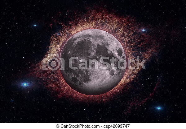Earths Moon. Outer space background. - csp42093747