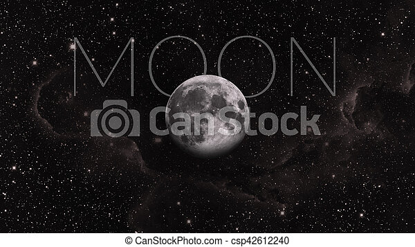 Earths Moon. Outer space background. - csp42612240