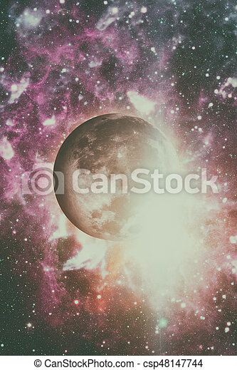 Earths Moon. Outer space background. - csp48147744