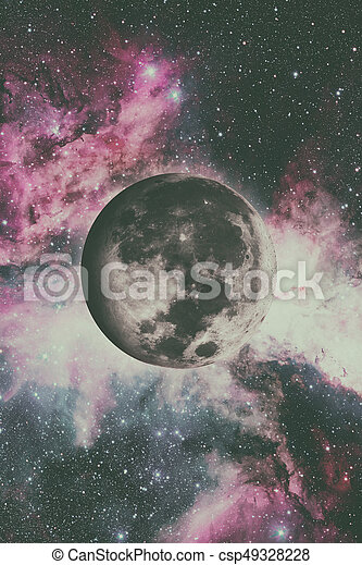 Earths Moon. Outer space background. - csp49328228