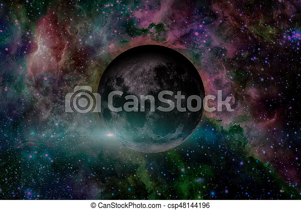 Earths Moon. Outer space background. - csp48144196
