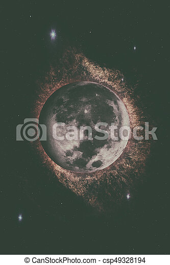 Earths Moon. Outer space background. - csp49328194