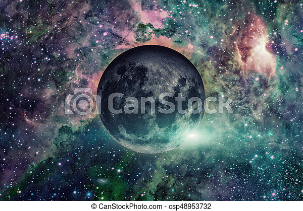 Earths Moon. Outer space background. - csp48953732