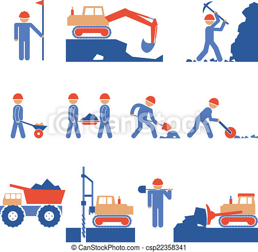 Earthwork and Road Construction Icons - csp22358341