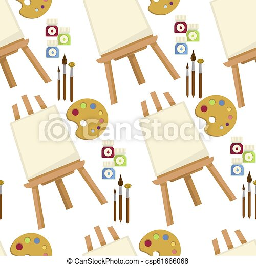Easel Canvas And Painting Brush With Palette Vector