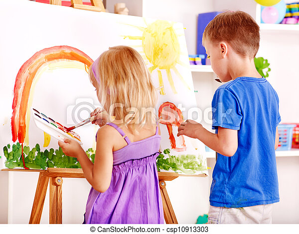 easel., peinture, enfant - csp10913303