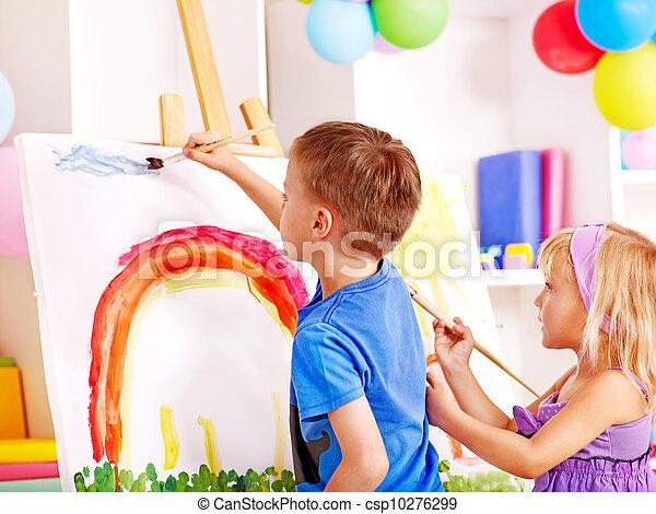 easel., peinture, enfant - csp10276299