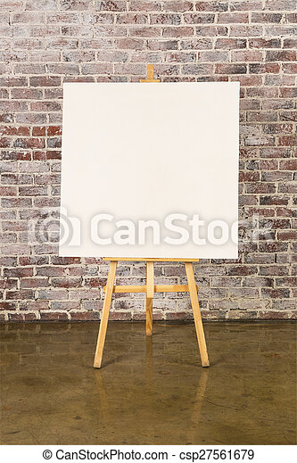 Easel with blank canvas - csp27561679