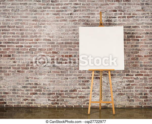 Easel with blank canvas - csp27722977