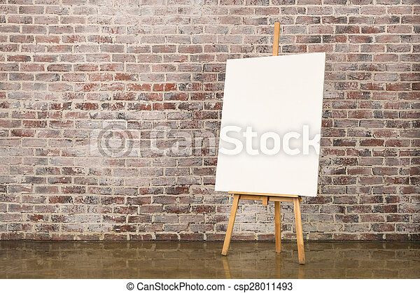 Easel with blank canvas - csp28011493