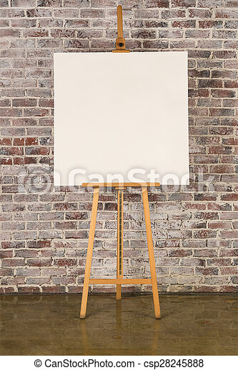 Easel with square canvas - csp28245888