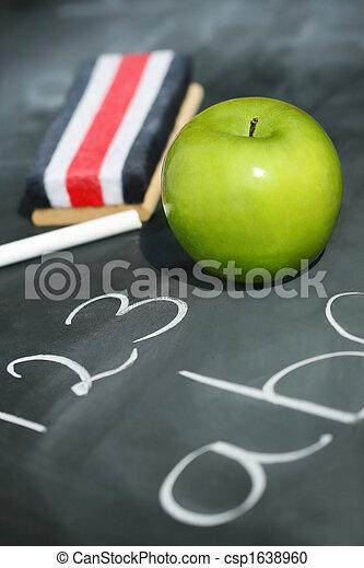 easer, groene appel, chalkboard - csp1638960
