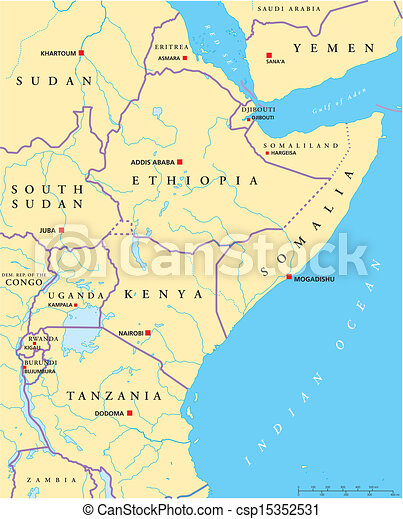 East Africa And Southern Africa Political Map.East Africa Political Map