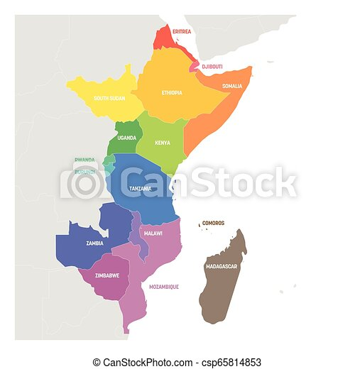 Colorful Map Of Africa.East Africa Region Colorful Map Of Countries In Eastern Africa Vector Illustration