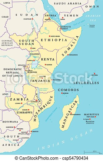 East africa region, political map. area with capitals, borders